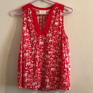 Amazing NWOT Red Anthropologie Blouse w/ Animals